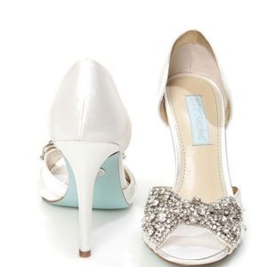 Betsey Johnson Rhinestone bow wedding heels